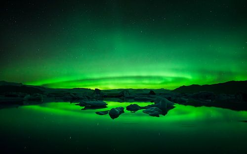 Glacier Lagoon Aurora van Martijn Kort