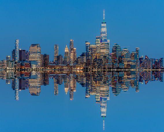Manhattan Skyline met reflectie vanaf Hoboken, New Jersey