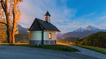 Sonnenuntergang an der Lockstein-Kapelle, bei Berchtesgaden