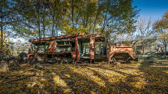 Verlaten Brandweerwagen in Tsjernobyl