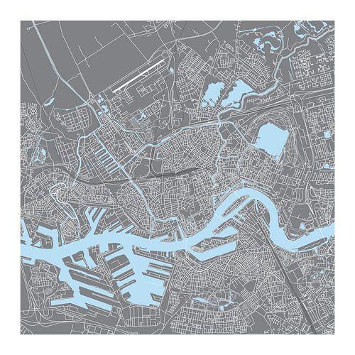Rotterdam Plattegrond - Vierkant in Grijs