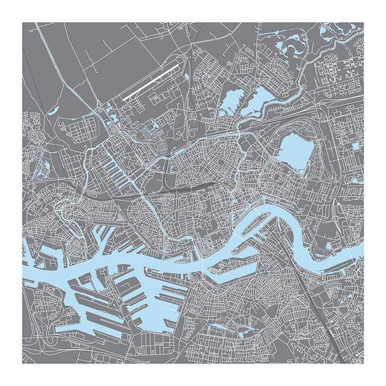 Rotterdam Plattegrond - Vierkant in Grijs - witte kader