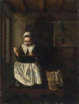 Ein Mädchen beim Nähen, Nicolaes Maes