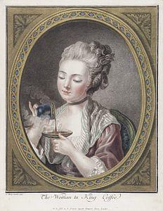 Büste einer jungen Frau beim Kaffeetrinken, Louis-Marin Bonnet, 1774