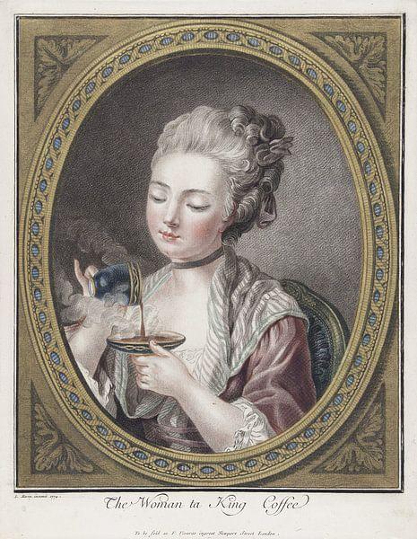 Büste einer jungen Frau beim Kaffeetrinken, Louis-Marin Bonnet, 1774 von Atelier Liesjes