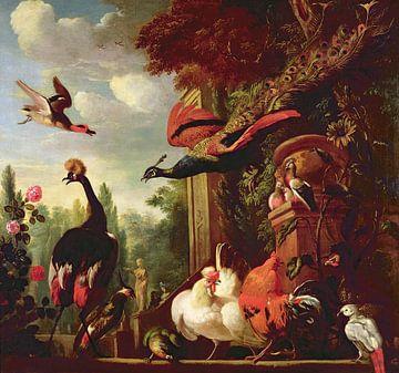 Ein Pfau, eine Pfauenart und andere exotische Vögel und Geflügel auf einer Terrasse, Melchior d'Hond