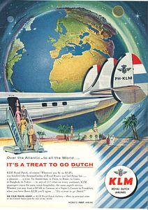 KLM VINTAGE ADVERTENTIE 1956 van