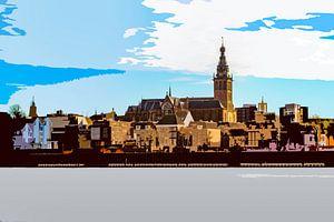 Sint Stevenskerk in Nijmegen aan de Waal. De foto is bewerkt, maar de kerk is herkenbaar van