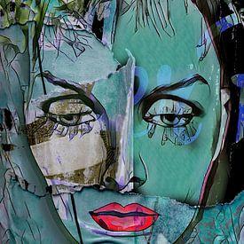 Le visage vert aux lèvres rouges sur Gabi Hampe