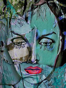 The green face with red lips von Gabi Hampe