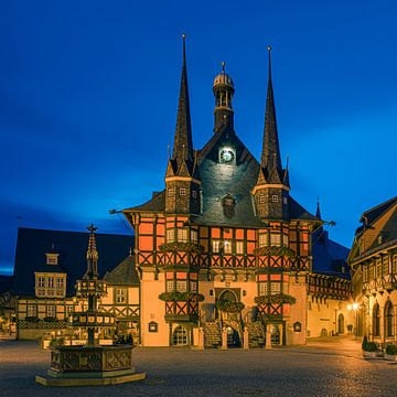 Das berühmte Rathaus in Wernigerode, Harz, Sachsen-Anhalt, Deutschland.