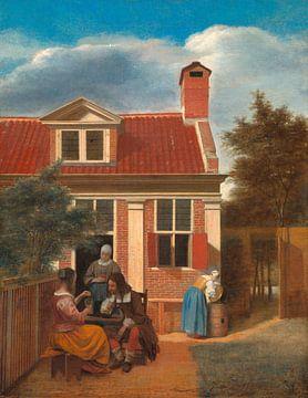 Eine Gesellschaft hinter dem Haus, Pieter de Hooch