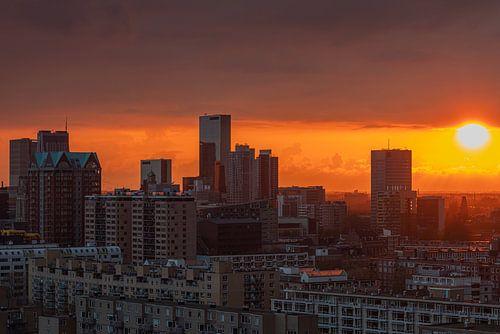 De zonsondergang boven het stadscentrum van Rotterdam