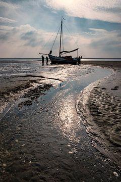Droogvallen op de Waddenzee van Eric van den Bandt