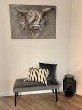 Klantfoto: Decoratieve kunst - schotse hooglander full colour kunstwerk van Wanddecoratie, op canvas