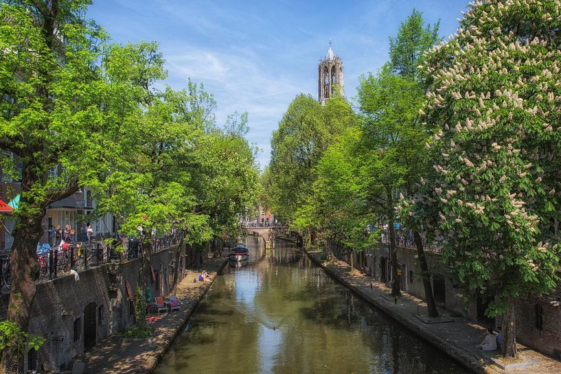 L'Oudegracht avec le Dom à Utrecht sur De Utrechtse Grachten