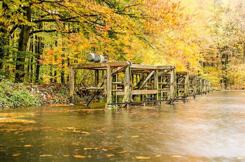 Roestige machines in een herfstbos van Frans Blok