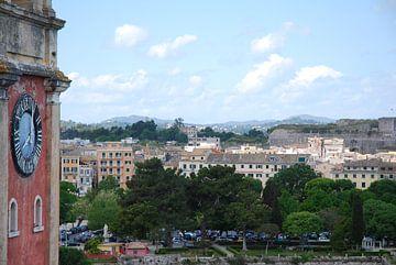 Uitzicht over Corfu stad, Griekenland van
