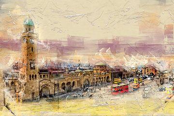 Aanleg van bruggen in Hamburg van Peter Roder
