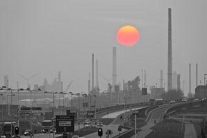 Shell Rotterdam met ondergaande zon