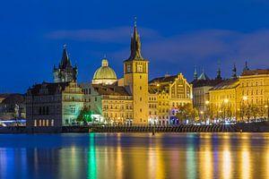 De oude stad van Praag in het blauwe uurtje, Tsjechië - 1 van