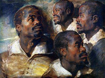Peter Paul Rubens, Vier studies van een hoofd van een Moor - 1616 van Atelier Liesjes