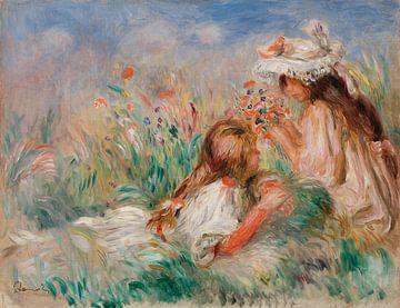 Im Gras liegendes Mädchen und ein junges Mädchen beim Arrangieren eines Blumenstraußes, Renoir (1890
