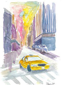 Klassische Taxi-Straßenszene in New York City von Markus Bleichner