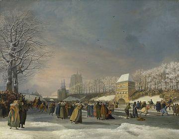 Eislaufen Frauen auf der Stadsgracht in Leeuwarden - Nicolaas Baur