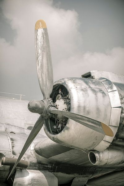Oud vintage vliegtuig van dichtbij met propellormotor van Sjoerd van der Wal