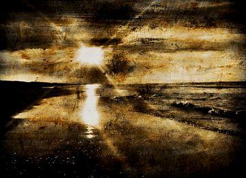 zonsondergang op strand van JF art