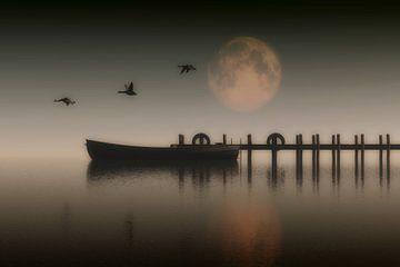Landschaft – Boot auf einem See mit Gänsen, die vorbei fliegen von Jan Keteleer