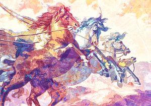 Paarden op hol in pastel- en poederkleuren van Nannie van der Wal