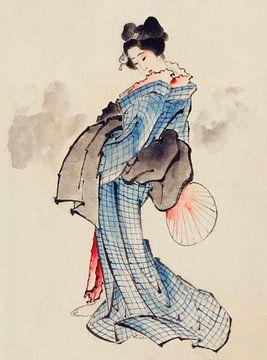 Japanse vrouw in kimono, Katsushika Hokusai
