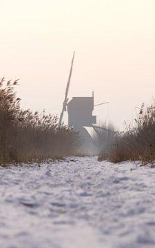 Windmolen in de sneeuw van Dave van Dokkum