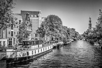 AMSTERDAM Bateaux fluvials sur le Prinsengracht | Monochrom sur Melanie Viola