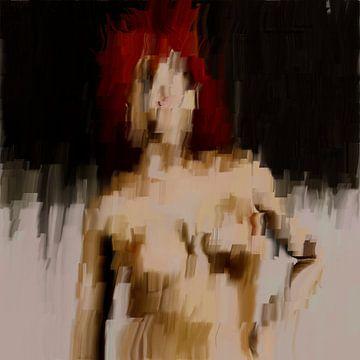 Abstract naakt portret vrouw met rode haar van Maurice Dawson