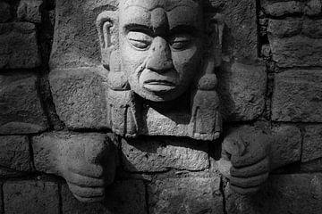 Abendlicht fällt auf Maya-Skulptur in den Ruinen von Copan von Laurens Coolsen