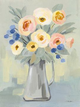 Bleke bloemen op salie, Silvia Vassileva van Wild Apple