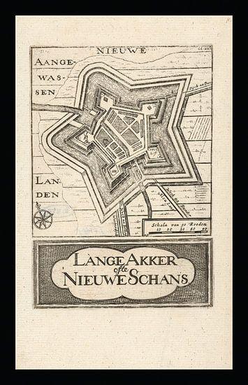 Oude kaart van Nieuwe Schans (Lange Akker), omstreeks 1743