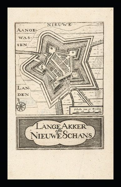 Oude kaart van Nieuwe Schans (Lange Akker), omstreeks 1743 van Gert Hilbink