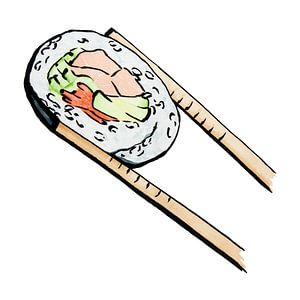Uramaki-Sushi mit Lachs