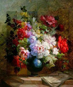 Stillleben mit Blumen und Notenblättern. Blumenweber