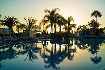 Palmbomen die weerspiegelen in een zwembad bij zonsondergang op Tenerife von Natascha Teubl