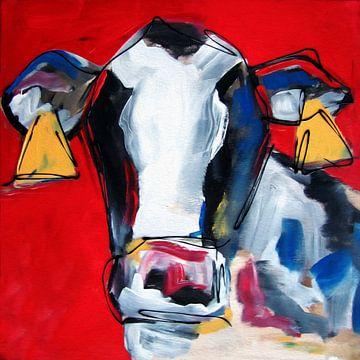 Koe met rode achtergrond van Nicole Roozendaal