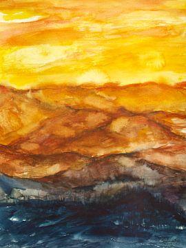 Goldene untergehende Sonne. von Ineke de Rijk