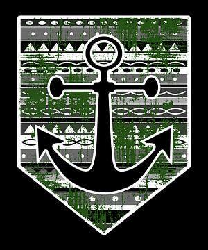 Wappen im norddeutschen Stil mit Anker und Maorie Muster von PA Designs