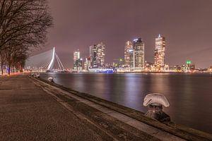 Skyline van Rotterdam gezien vanuit de havens