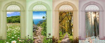 Vier seizoenen landschap - madeliefjesweide, wandelpad aan het Gardameer, eikenlaan, winterbos van Susanne Bauernfeind