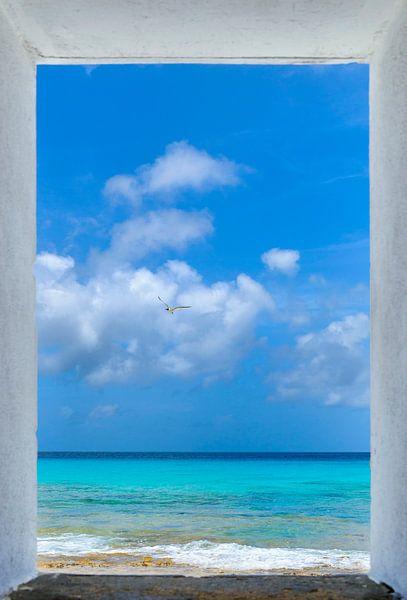 Uitzicht van de White Slave Huts, Bonaire van M DH